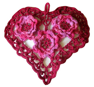 Irish Crochet Heart in Yarns - Red and Pink - by Ruth Sandra Sperling - RSS Designs In Fiber