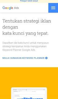 Cara daftar Google keyword planner