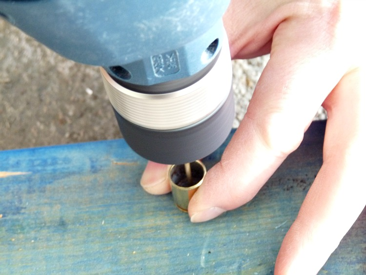 How to drill a hole in a shell casing