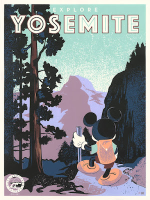"The D23 Expo Exclusive ""Explore Yosemite"" Mickey Mouse Screen Print by Bret Iwan x Cyclops Print Works x Disney"