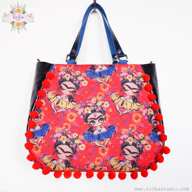 crossbody bag, Frida, Frida Kahlo, handbag, Karamfila, pompoms, washpapa, washable paper, vegan leather, vegan bag