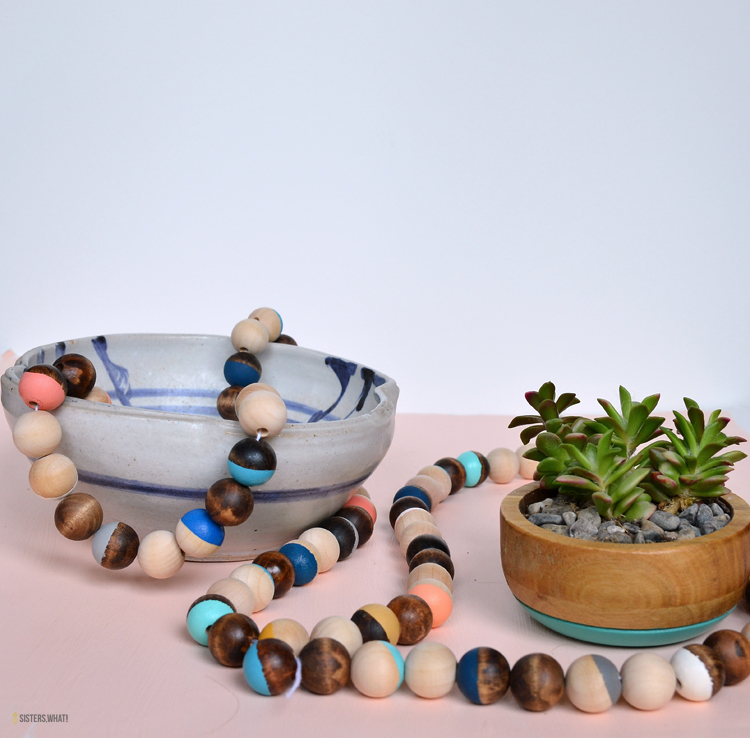 how to paint a wood bead garland
