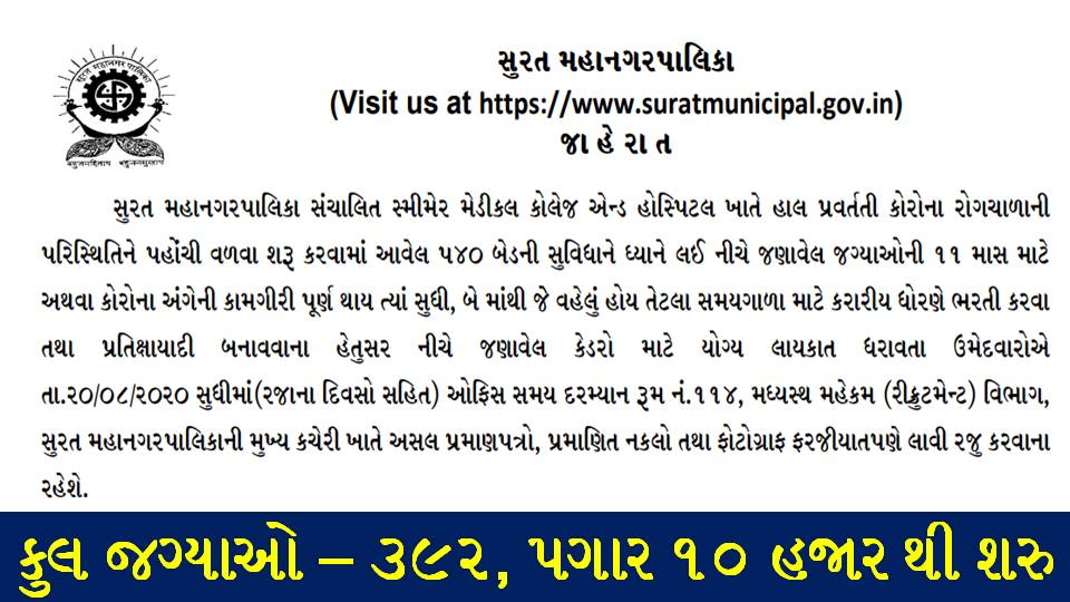 Surat Municipal Corporation (SMC) Recruitment for 392 Specialist, Sr. Resident, Medical Officer, Nurse & Aya Posts 2020