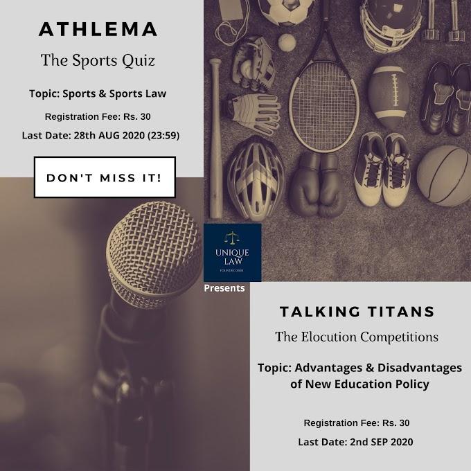 ATHLEMA (Sports Quiz) & TALKING TITANS (Elocution Competition) @ UNIQUE LAW