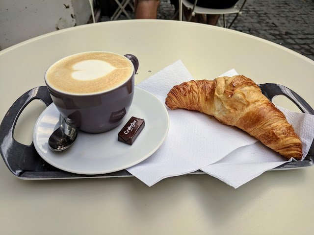 What to eat in Mons Belgium: Coffee and a croissant at Moma Coffee