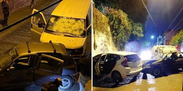 Fotos: En Tlaquepaque; Jalisco, Sicarios atravesaron vehículos a elementos de la FGR y los rafaguearon pero los agentes iban en una blindada y se salvaron