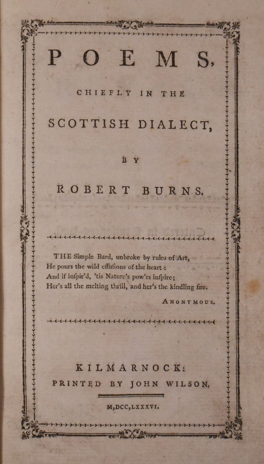 "A title page for ""Poems Chiefly in the Scottish Dialect."""