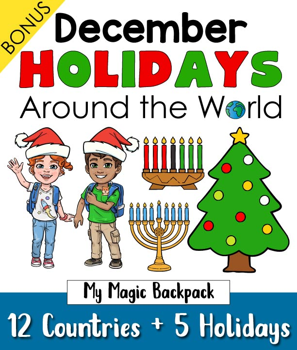 Travel around the world this holiday season and discover how different countries celebrate Christmas, Hanukkah, Kwanzaa, St. Lucia Day and Las Posadas. Perfect way to jump-start your geography learning for kids who are in pre-k and kindergarten.