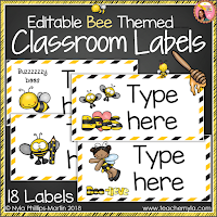Bee Themed Classroom Labels editable