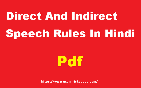 Direct And Indirect Speech Rules in Hindi pdf