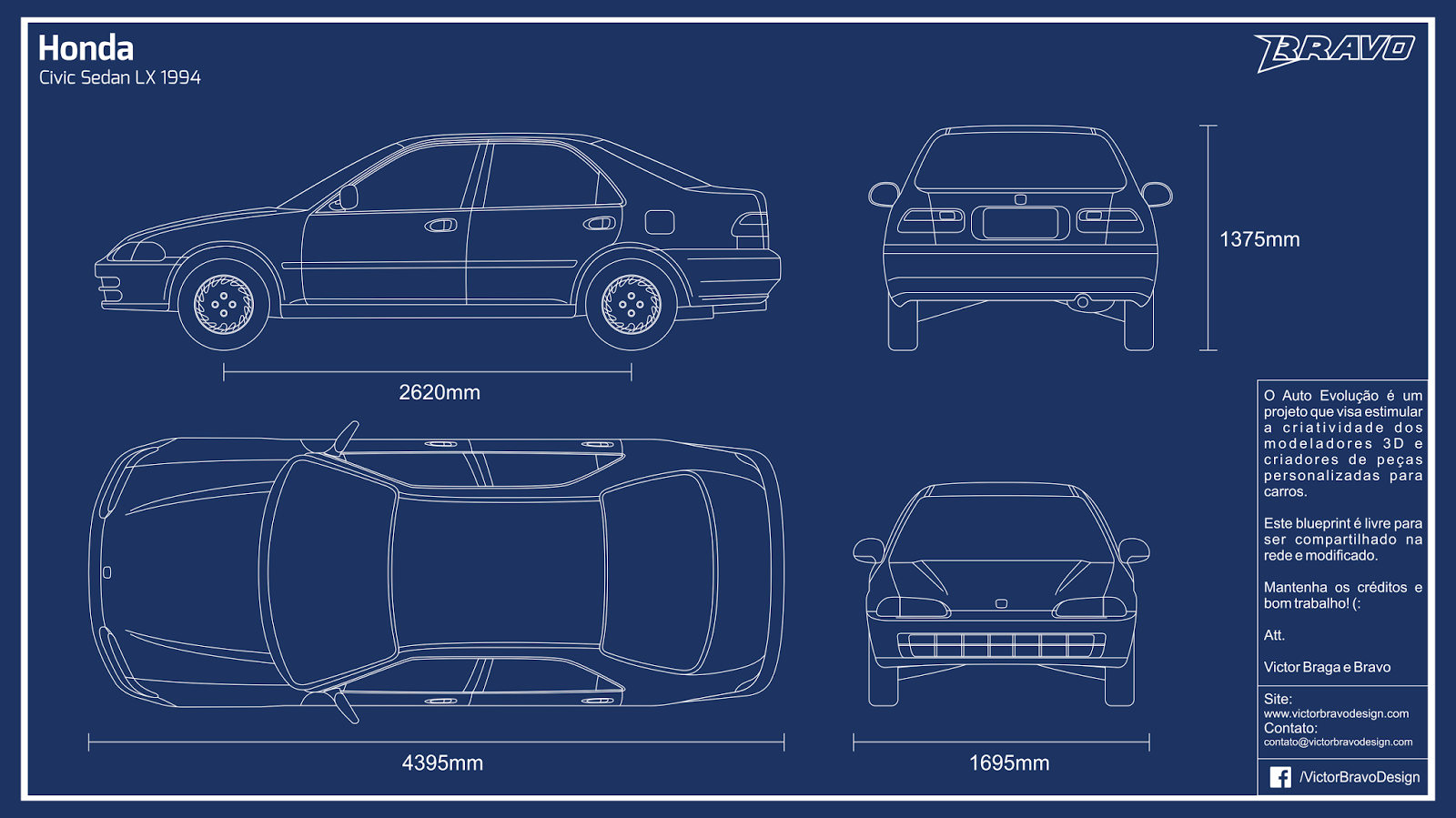 Imagem do blueprint do Honda Civic Sedan LX 1994