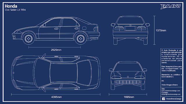 Imagem do blueprint do Honda Civic Sedan LX 1994