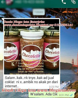 Chocoletto, Coklat leleh, Coklat sedap, Coklat dalam balang, Produk Terlaris Dunia Niaga ieta enterprise
