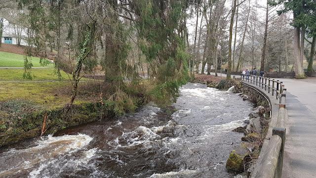 Die Enz fließt durch den Kurpark Bad Wildbad