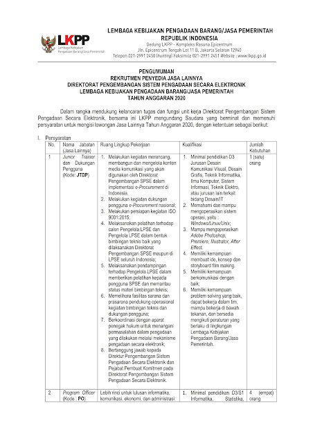 Rekrutmen Penyedia Jasa Lainnya Direktorat Pengembangan Sistem Pengadaan Secara Elektronika LKPP Tahun Anggaran 2020