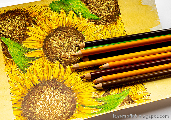 Layers of ink - Sunflowers with colored pencils tutorial by Anna-Karin Evaldsson.