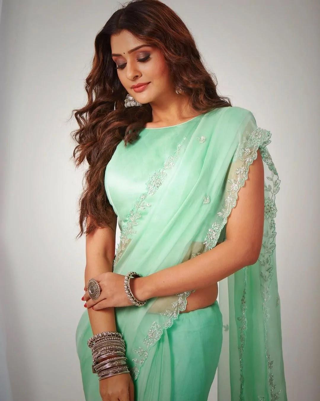 payal-rajput-mint-green-organza-saree
