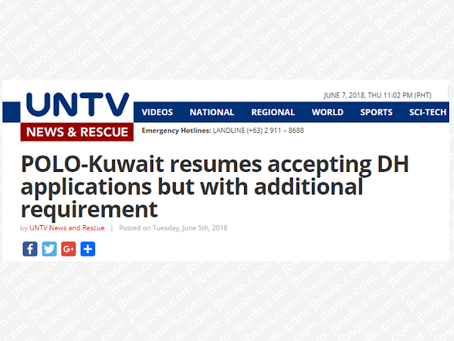 The Philippine Overseas Labor Office (POLO) in Kuwait has resumed accepting applications for domestic workers or those who are being issued visa 20 in Kuwait starting June 4 but with an additional requirement for the employers. They must submit a proof of capacity to pay the salary of the household service worker.  The ban on the deployment of Overseas Filipino Workers (OFWs) was lifted after the Kuwaiti government agrees with the conditions set by the Philippine government through a memorandum of understanding signed by both countries assuring the welfare and safety of the OFWs deployed in the Gulf State.  Advertisement        Sponsored Links   Lomondot said they already received from the Philippine Overseas Employment Administration (POEA) in Manila the guidelines on the resumption of the deployment of domestic workers to the Gulf State following the implementation of Administrative Order 254-a signed by Labor Secretary Silvestre Bello III which officially lifted the deployment ban on domestic helpers to Kuwait.  The POEA guidelines are in accordance with the agreement on employment of domestic workers signed by the two countries on May 11, 2018. According to the guideline, a household service worker applicant should pass training from a POEA-accredited institution and should undergo orientation on the law, customs, and traditions of Kuwait.  One new and important addition to the guidelines is the capacity of the employer to pay the proper amount of compensation.    He added that the Philippine Recruitment Agencies (PRA) were directed to adhere to the POEA guidelines and help the government in its implementation.  The Philippine Embassy in Kuwait also expects more personnel to efficiently assist all 260,000 overseas Filipino workers (OFWs) in the State of Kuwait wherein around 150,000 of the said number work as household service workers.  Meanwhile, Lomondot conveyed the Kuwaiti government's appreciation of the positive developments in its labor cooperation and diplomatic relations with the Philippines.   The Philippine Embassy and Kuwait's Ministry of Foreign Affairs are constantly holding joint meetings to further discuss the provisions and the implementation of the signed memorandum of understanding.    READ MORE: Can A Family Of Five Survive With P10K Income In A Month?  Authorized Travel Agency To Process Temporary Visa Bound to South Korea  Who Can Skip Online Appointment And Use The DFA Courtesy Lane For Passport Processing?  Do You Want College Scholarship? Check This Out Now!    What Is SSS PESO Fund And How You Can Invest In It  No HSWs Has Been Sent To Kuwait Yet After Lifting Of Ban    In Demand College Courses Which Only A Few Take Up    OFWs Must Save, Get Insurance And Have An Investment