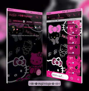 Hello Kitty Black & Pink Theme For YOWhatsApp & Fouad WhatsApp By Nanda
