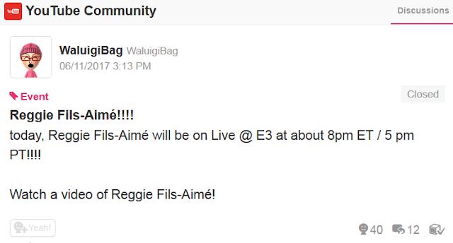 Reggie Fils-Aime Live @ E3 YouTube 2017 Geoff Keighley WaluigiBag