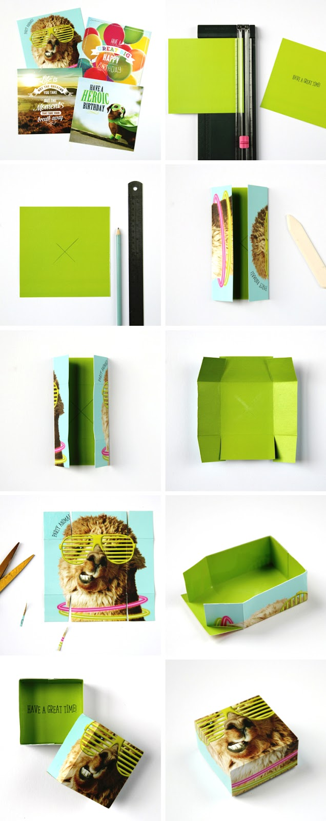 How to make diy gift boxes from recycled old cards