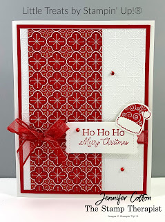 This Christmas card uses Stampin' Up!®'s Little Treats Bundle.  We also used the Heartwarming Hugs Desgner Paper, Real Red Sheer Ribbon, Dainty Diamonds embossing folder, and Red Rhinestone Basic Jewels.  Check out the blog for a video & supply list.  #StampTherapist #StampinUp