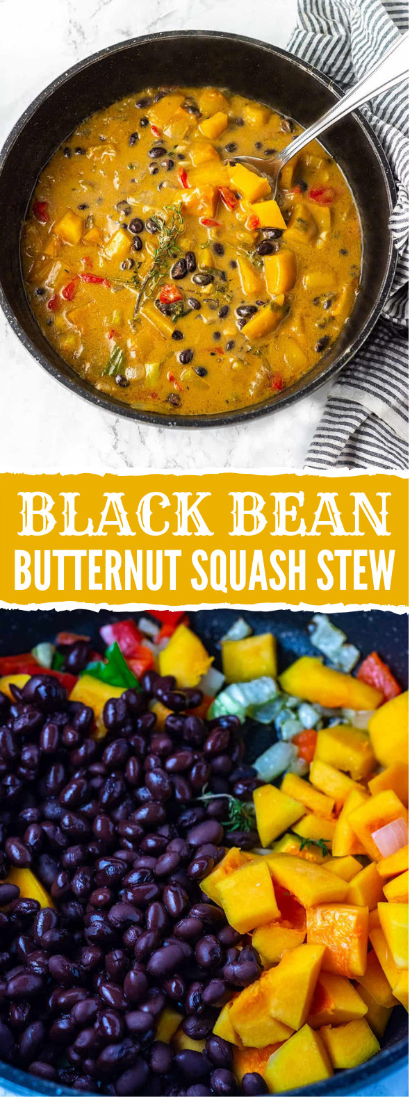 Black Bean Butternut Squash Stew #vegan #healthy