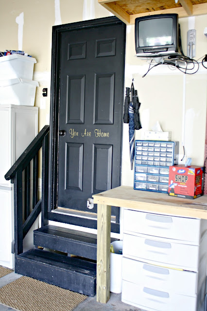 Black door in garage