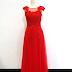 Gaun Pesta Panjang Merah Tile Brokat
