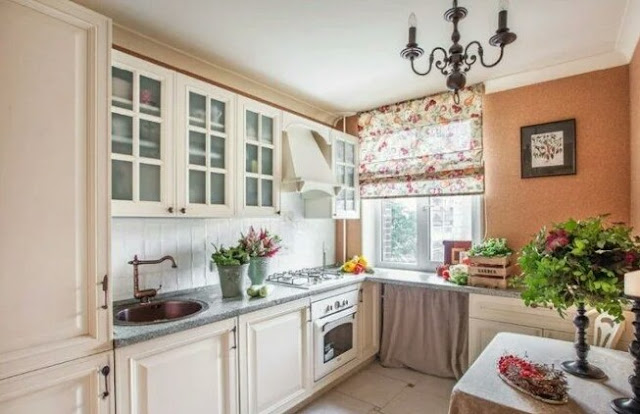 Provence style curtains for the kitchen