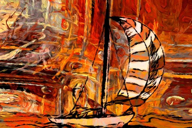 風を受けて進む船