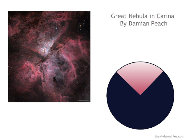 photograph of the Great Nebula in Carina by Damian Peach, with a color scheme drawn from the photo