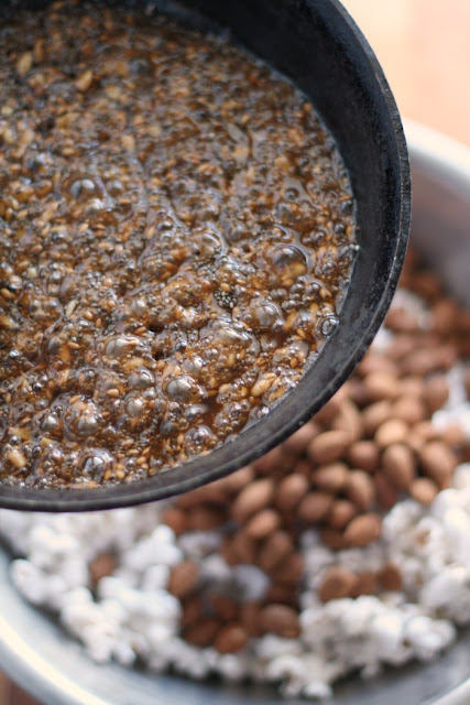 seeds and maple syrup to pour over popcorn and almonds