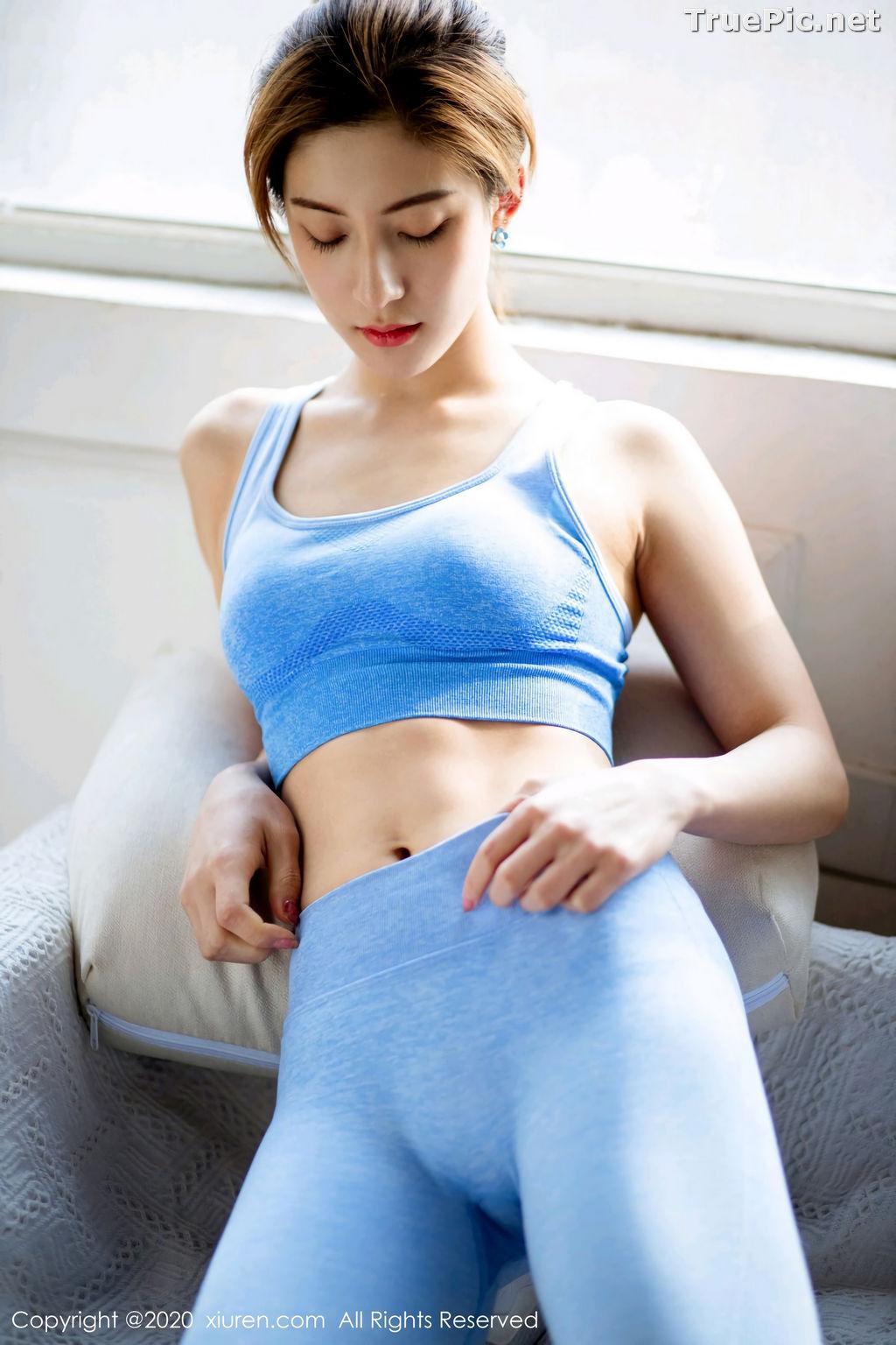 Image XIUREN No.2316 - Chinese Model 林文文yooki - Sexy Blue Fitness Set - TruePic.net - Picture-9