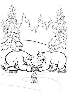 דפי צביעה מאשה והדוב