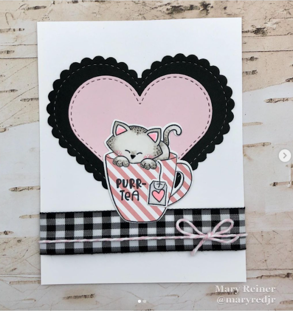 Purr-tea by Mary features Newton's Mug and Heart Frames by Newton's Nook Designs; #newtonsnook, #cardmaking, #catcards, #inkypaws, #teacards