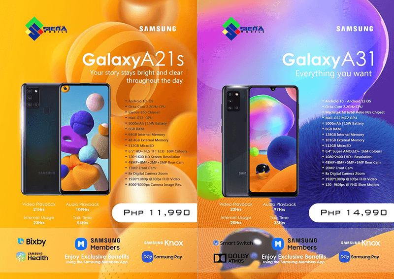 Samsung Galaxy A21s and A31 now available in PH stores