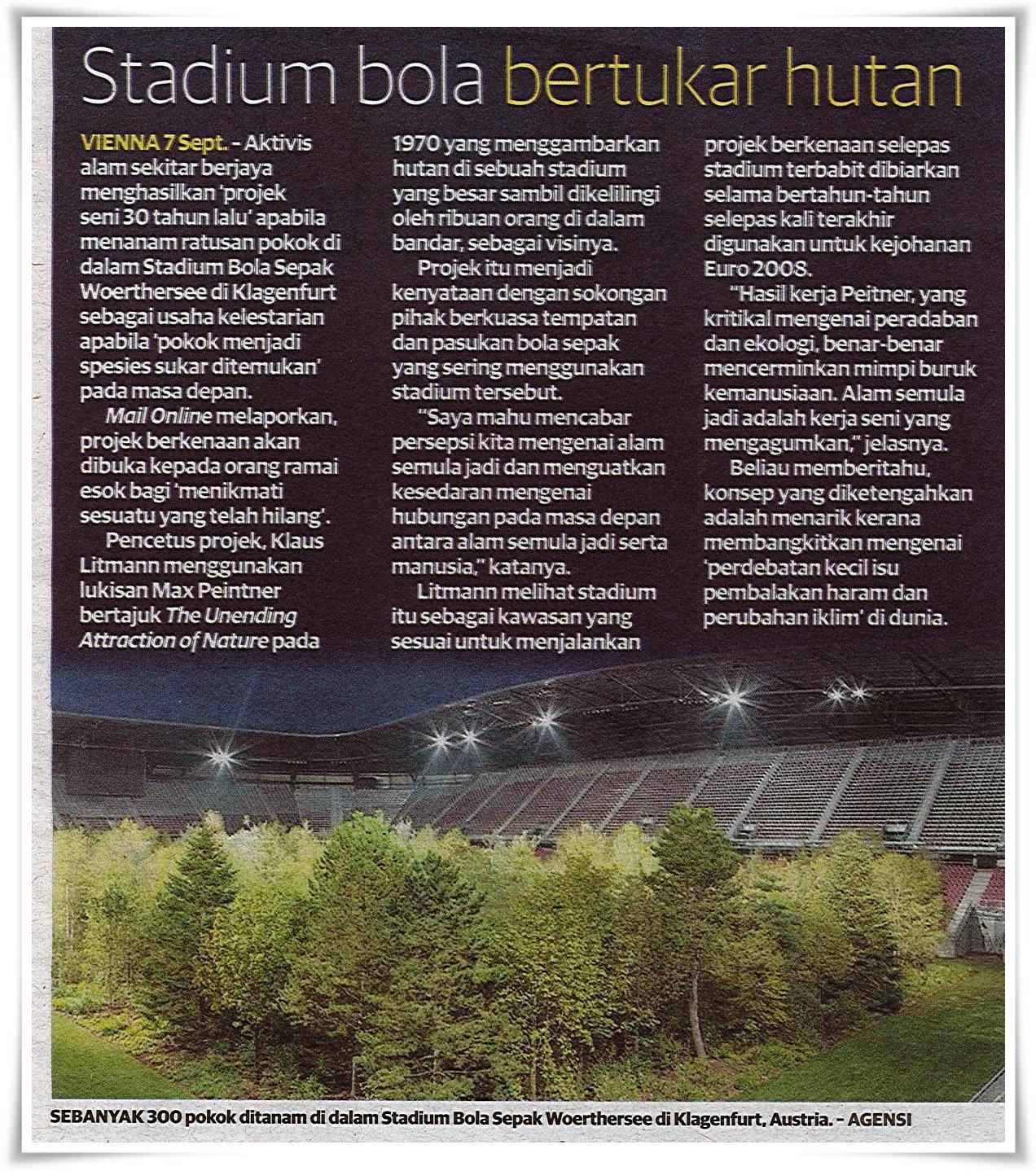 Stadium bola bertukar hutan