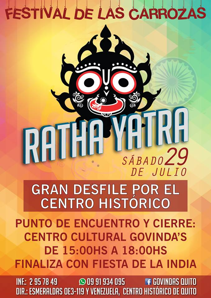 Upcoming Ratha Yatra In Quito Ecuador Vrinda Family News