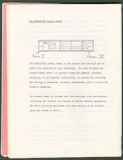 A page of typed text an a diagram of the Synclavier control panel.