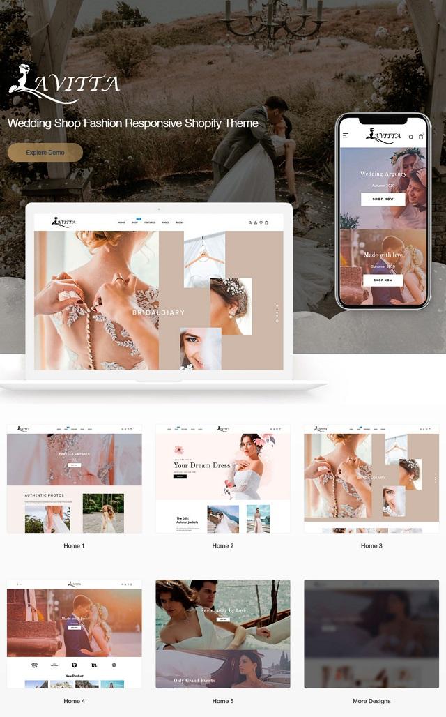Wedding Shop Fashion Responsive Website Theme