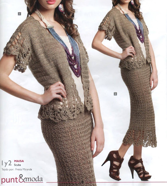 Patrón 930 Chaqueta y Falda a Crochet