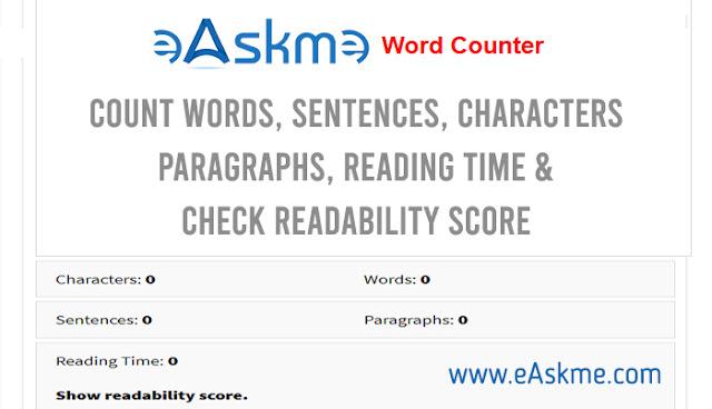 eAskme Word Counter tool: readabilitiy checker: eAskme