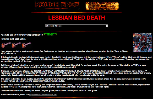 Lesbian Bed Death Born To Die On VHS album review Rough Edge