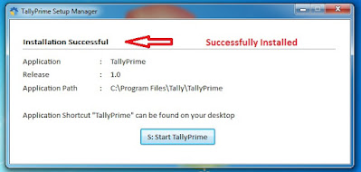 Tally Prime is installed on New folder
