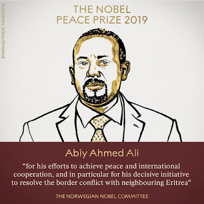 Nobel Peace Prize 2019 was awarded to Abiy Ahmed Ali