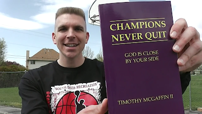 "Tim McGaffin holding his book, ""Champions Never Quit: God Is Close By Your Side"""