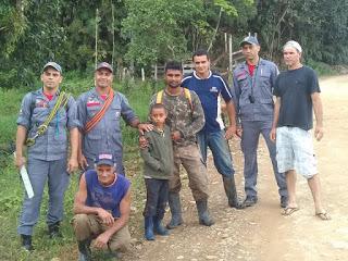 Kelvis foi encontradoem uma mata na área rural de Sete Barras