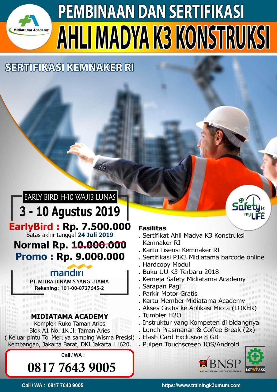 Ahli Madya K3 Konstruksi Kemnaker Tgl 3 10 Agustus 2019 Di Jakarta Training K3 Umum 2020 Pelatihan K3 Online