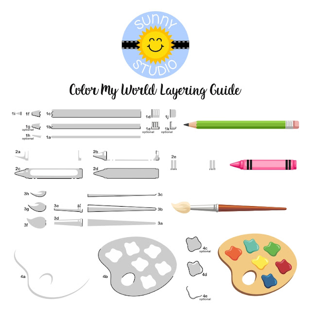 Sunny Studio Stamps: Color My World Pencil, Crayon, Paint Brush & Palette Ink Layering Guide